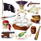 Pirates Cartoon Icons Set Royalty Free Stock Photography