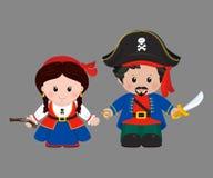 Pirates in cartoon style Royalty Free Stock Photos