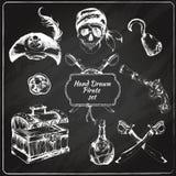 Pirates chalkboard icons set Stock Photos
