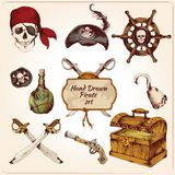 Pirates colored icons set Stock Image