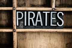 Pirates Concept Metal Letterpress Word in Drawer Royalty Free Stock Images