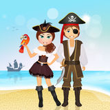 Pirates couple on the island Royalty Free Stock Images