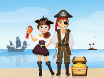 Pirates couple on the island Royalty Free Stock Photos