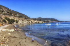 Pirates Cove beach , California, USA. Panoramic view of wonderful Pirates Cove beach at San Louis Obispo County, California, USA The beach is hidden between royalty free stock photos