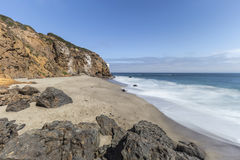 Pirates Cove Beach with Motion Blur Water in Malibu California Stock Image