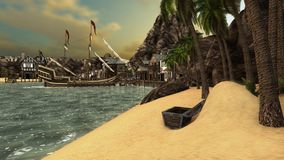 Pirates Cove. This is a 3D render of a fantasy pirates beach Royalty Free Stock Photography