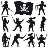 Pirates crew silhouettes set 2 Royalty Free Stock Photo