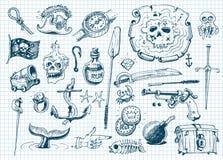 Pirates doodles set vector illustration