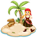 Pirates. Female pirates standing on an island Royalty Free Stock Image