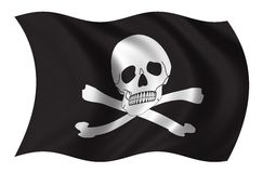 Pirates flag. Waving in the wind Stock Photos