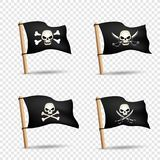 Pirates flags set transparent background Royalty Free Stock Images