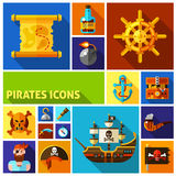 Pirates Flat Cartoon Icons Royalty Free Stock Images
