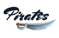 Pirates game element with sword stock illustration