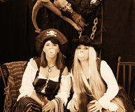 Pirates Girls blowing a bubble. Photo of Pirate Characters for Halloween stock images