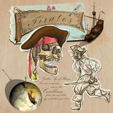 Pirates - Golden Age. Hand drawn and Mixed media Royalty Free Stock Images