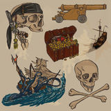 Pirates - an hand drawn colored vector pack no.3 Royalty Free Stock Image