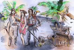 Pirates. An hand drawn illustration. Freehand drawing, painting. stock illustration