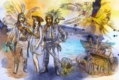 Pirates. An hand drawn illustration. Freehand drawing, painting. vector illustration
