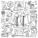 Pirates hand drawn set Royalty Free Stock Image