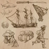 Pirates - an hand drawn vector pack. Pirates, Buccaneers and Sailors - Collection (no.2) of an hand drawn illustrations. Description: Each drawing comprise of Stock Photos
