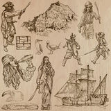 Pirates - an hand drawn vector pack. Pirates, Buccaneers and Sailors - Collection (no.3) of an hand drawn illustrations. Description: Each drawing comprise of Royalty Free Stock Photo