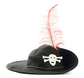 Pirates hat. Black pirates hat with red plume over pure white background Royalty Free Stock Photo