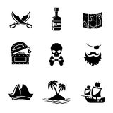 Pirates icons vector set Royalty Free Stock Photos
