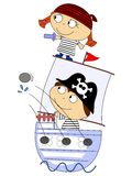 Pirates. Illustration of merry pirates in the children's style Stock Photo