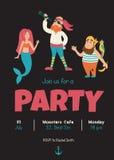 Pirates invitation. Vector template of kids birthday party invitation, dark background Stock Image