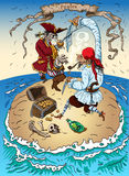 Pirates on the Island. Are fighting for treasure Stock Images