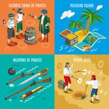Pirates Isometric Design Concept. With favorite drink rum, treasure island, weapons, fight for gold isolated vector illustration Royalty Free Stock Photo