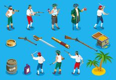 Pirates Isometric Icons Stock Photo