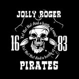 Pirates Jolly Roger symbol. Vector poster of skull with pirate eye patch, crossed bones and swords or sabers. Black flag Royalty Free Stock Images