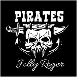Pirates Jolly Roger symbol. Vector poster of skull with pirate eye patch, crossed bones and swords or sabers. Black flag Royalty Free Stock Photography