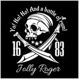 Pirates Jolly Roger symbol. Vector poster of skull with pirate eye patch, crossed bones and swords or sabers. Black flag Stock Photos