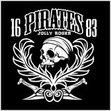 Pirates Jolly Roger symbol. Vector poster of skull with pirate eye patch, crossed bones and swords or sabers. Black flag Royalty Free Stock Photo