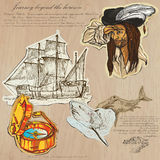 Pirates - Journey beyond the Horizon. An hand drawn vector pack. Topic: PIRATES - Journey beyond the Horizon. Description: Vector is editable in several layers Stock Image