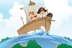 Pirates kids. A vector illustration of kids dressed in pirates costumes sailing in a ship Royalty Free Stock Photo