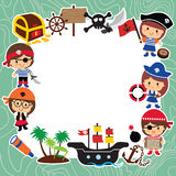 Pirates kids layout design Stock Photography
