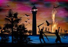 pirates La mer et le bateau Image stock