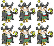 Pirates Match-up Visual Game. For children. Illustration is in eps10  mode! Task: Match-up alike (find the pair)! Solution is No. 1 and 5 Stock Photo