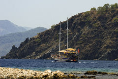 Pirates or maybe not. Boat trip, the beaches of Turkey, the Mediterranean Sea Royalty Free Stock Images