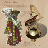 Pirates - Navigation at Sea. Hand drawn and Mixed media Stock Image