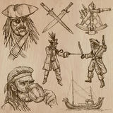 Pirates (no.6) - an hand drawn vector pack. Pirates, Buccaneers and Sailors - Collection (no.6) of an hand drawn illustrations. Description: Each drawing Royalty Free Stock Photos