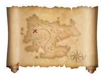 Pirates old treasure map isolated scroll royalty free illustration
