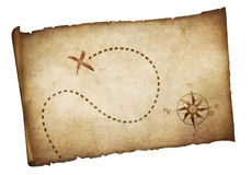 Pirates old treasure map isolated. On white Stock Photo
