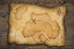 Pirates' old treasure map Royalty Free Stock Image