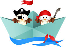 Pirates owls in a boat Royalty Free Stock Photography