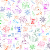 Pirates pattern. Seamless pattern with pirate themed doodles Royalty Free Stock Images