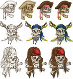 Pirates - Pirate skulls collection, hand drawings Royalty Free Stock Image